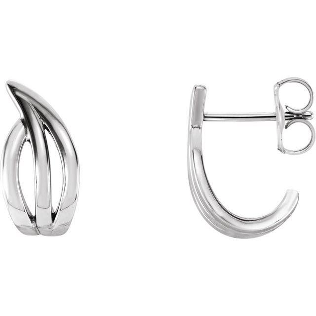 Sterling Silver Freeform J-Hoop Earrings