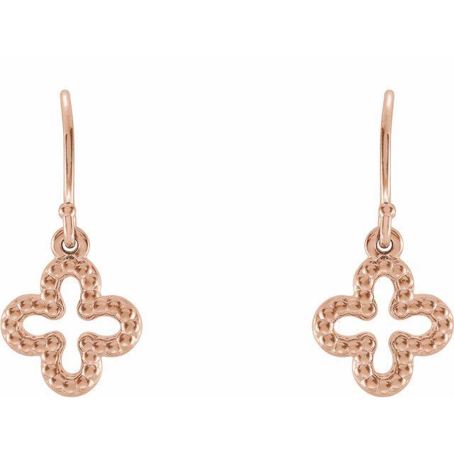 14K Rose Beaded Clover Earrings