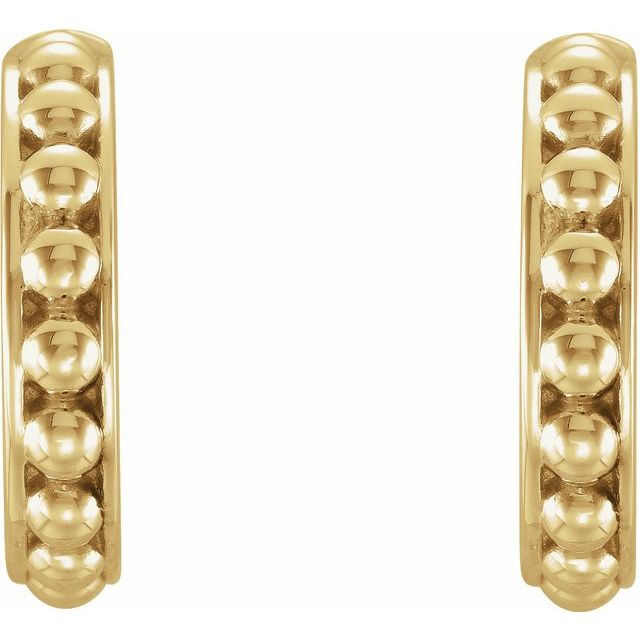 14K Yellow 15 mm Beaded Huggie Earrings