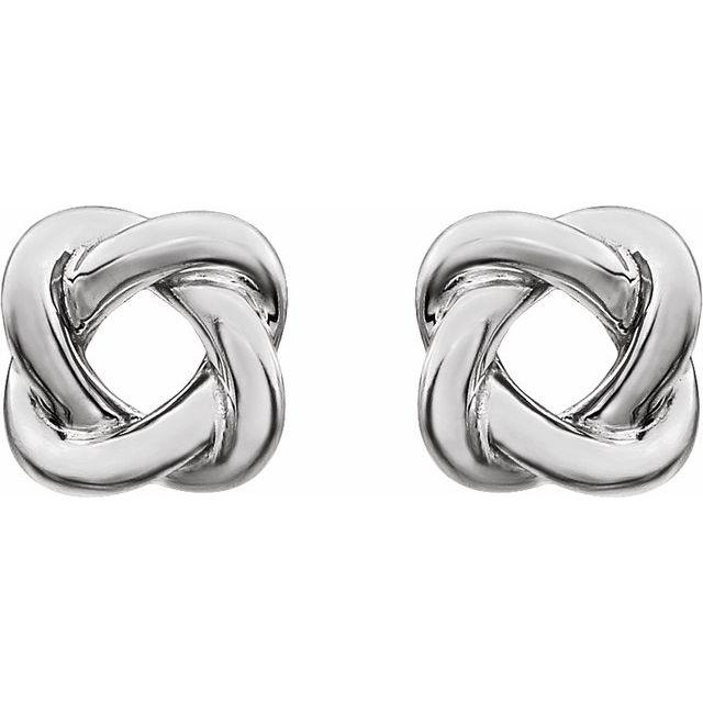 Sterling Silver 7x7 mm Knot Earrings