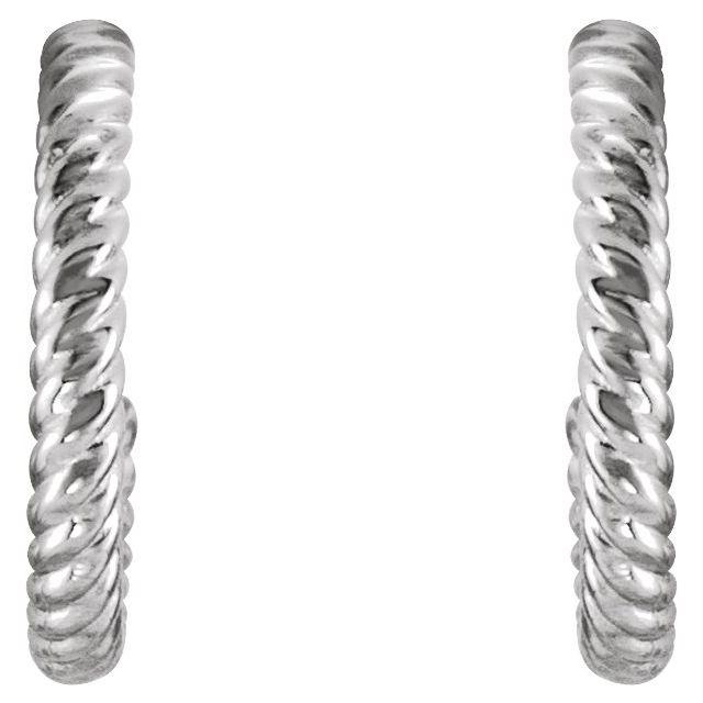 Sterling Silver 12 mm Rope Hoop Earrings
