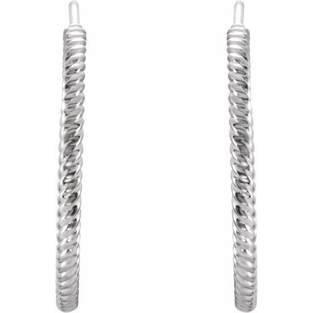 Sterling Silver 21 mm Rope Hoop Earrings