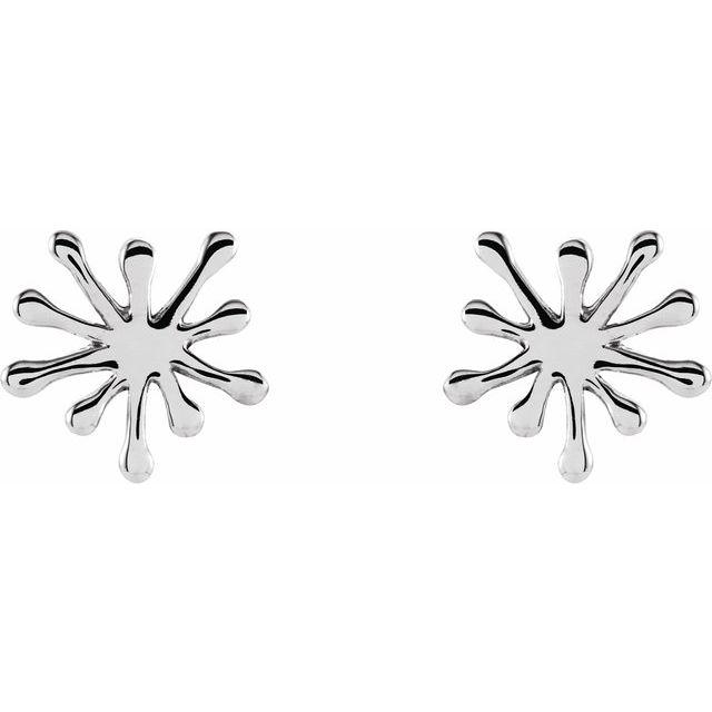 14K White Burst Stud Earrings