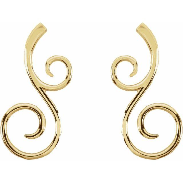 14K Yellow 38x17 mm Scroll Pattern Earrings