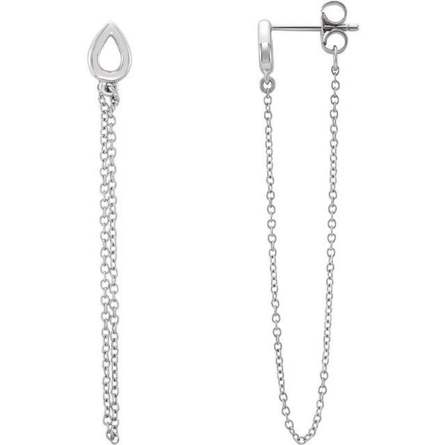 14K White Leaf Chain Earrings