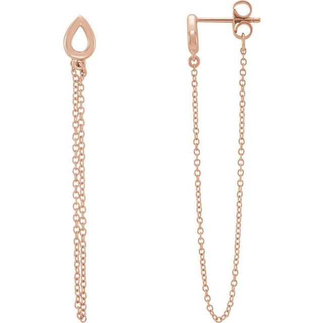 14K Rose Leaf Chain Earrings