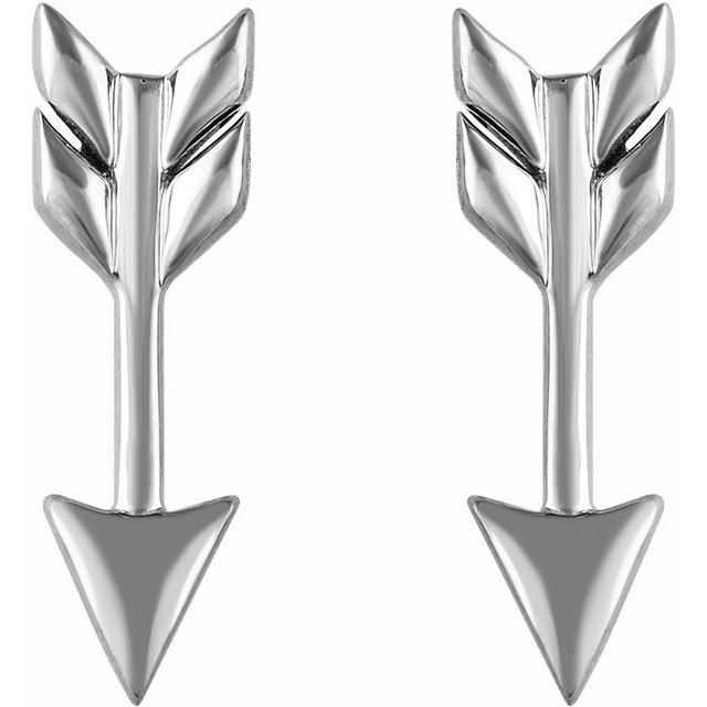 14K White Arrow Earrings