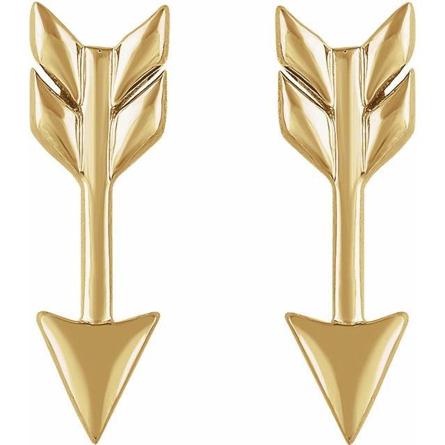 14K Yellow Arrow Earrings