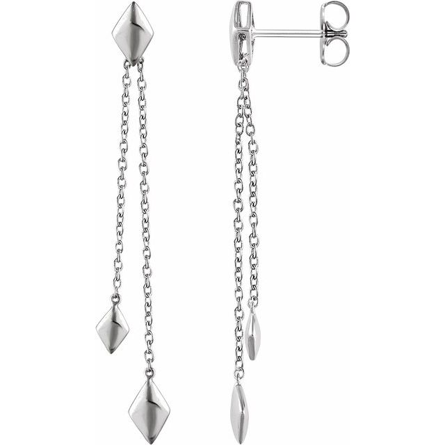 14K White Chain Earrings