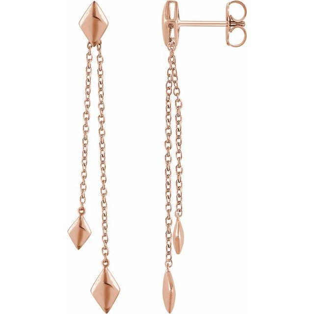 14K Rose Chain Earrings