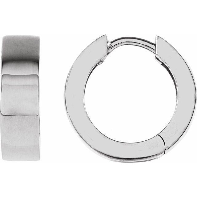 14K White 14.5 mm Hinged Earrings