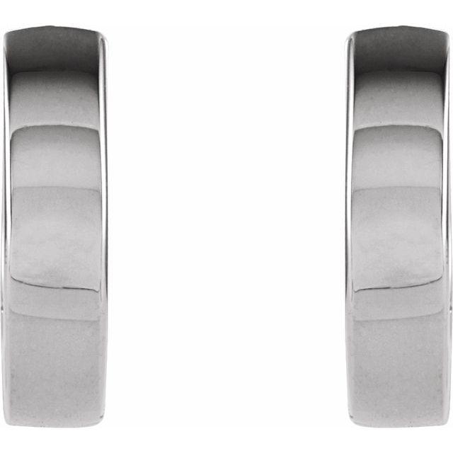 14K White 10.2x2.7 mm Hinged Huggie Earrings