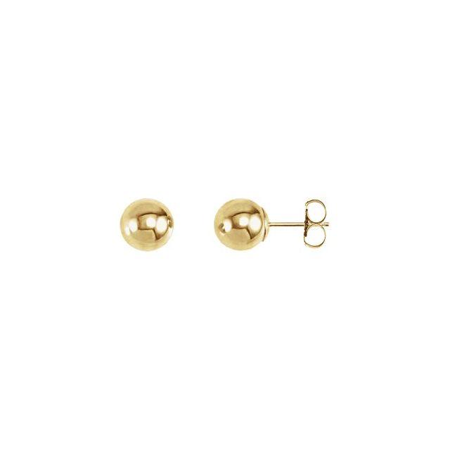 14K Yellow 7 mm Ball Earrings