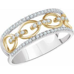 14K White 1/4 CTW Diamond Link Ring