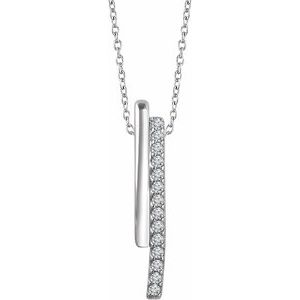 "14K White 1/5 CTW Diamond 16-18"" Bar Necklace"