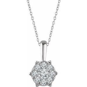 "14K White 1/3 CTW Diamond 16-18"" Necklace"