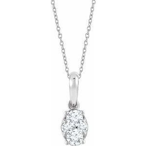 "14K White 1/3 CTW Diamond 16-18"" Necklace"