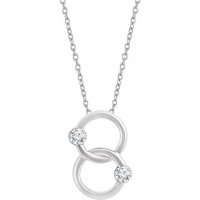 14K White Two-Stone Interlocking Circle 18