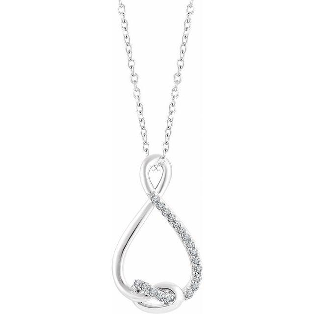 Sterling Silver 1/10 CTW Diamond Freeform 16-18