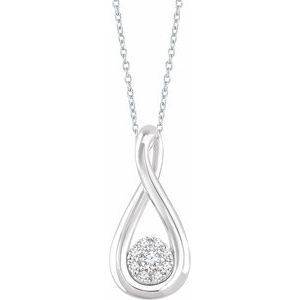 "Sterling Silver  1/10 CTW Diamond Freeform 16-18"" Necklace"