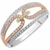 14K Tri-Color 1/3 CTW Diamond Ring