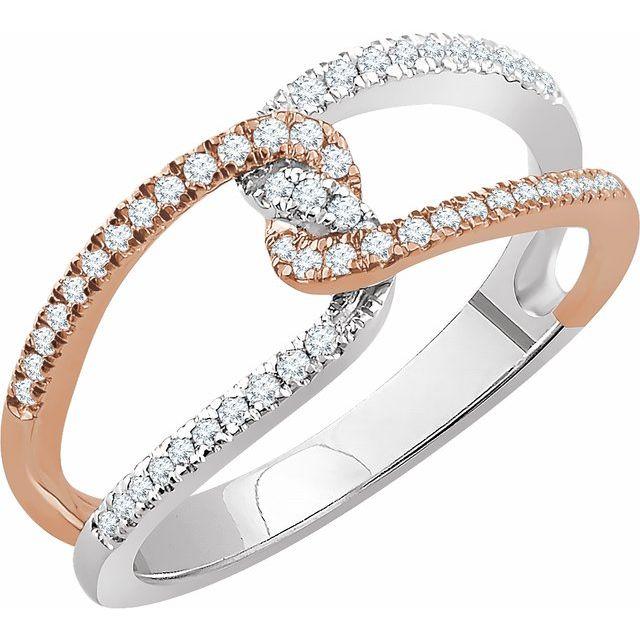 14K White & Rose 1/4 CTW Diamond Ring
