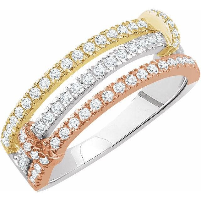 14K Tri-Color 1/2 CTW Diamond Ring
