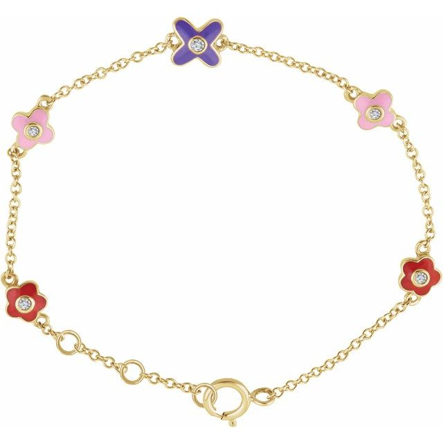 "10K Yellow .04 CTW Diamond Youth Flower 7"" Bracelet"