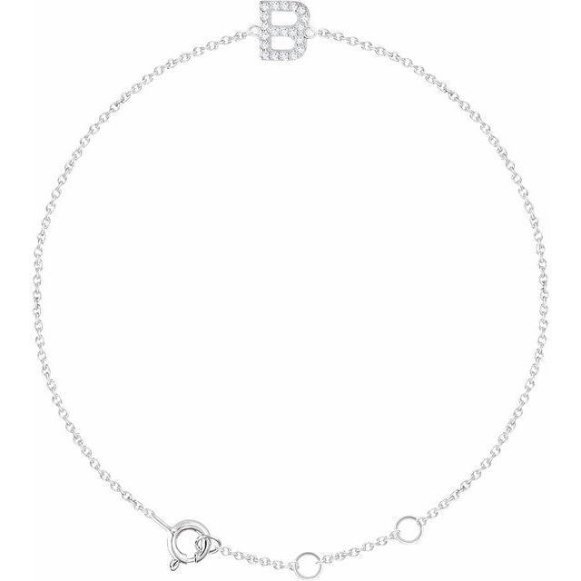 "14K White .07 CTW Diamond Initial B 6-7"" Bracelet"