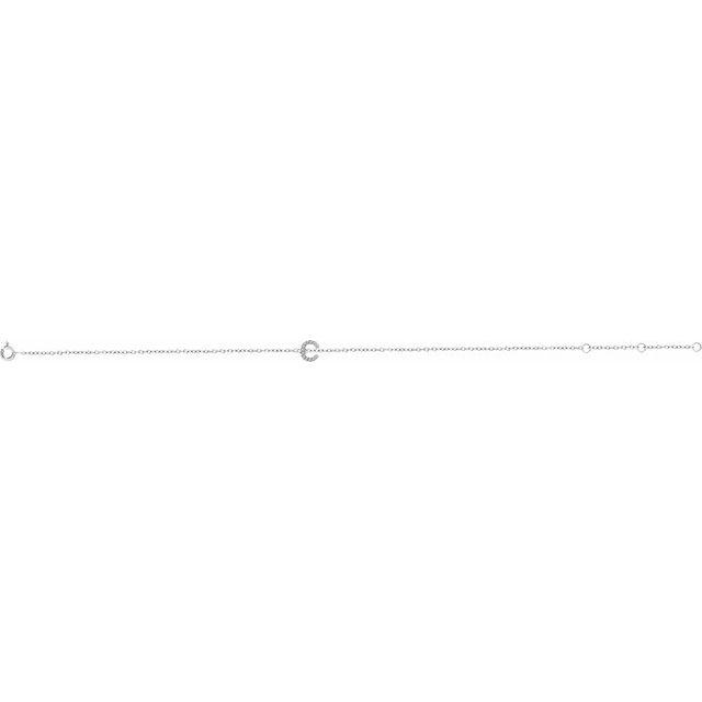 14K White .04 CTW Diamond Initial C 6-7