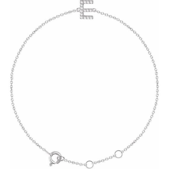 "14K White .06 CTW Diamond Initial E 6-7"" Bracelet"
