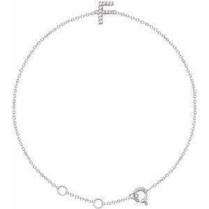 "14K White .05 CTW Diamond Initial F 6-7"" Bracelet"