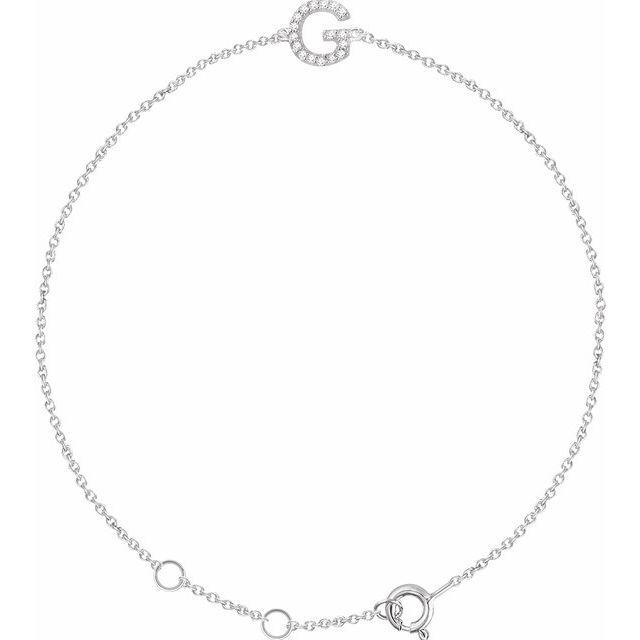 """14K White .05 CTW Diamond Initial G 6-7"""" Bracelet"""