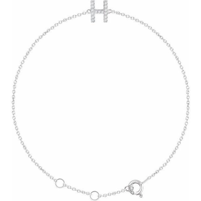 "14K White .06 CTW Diamond Initial H 6-7"" Bracelet"