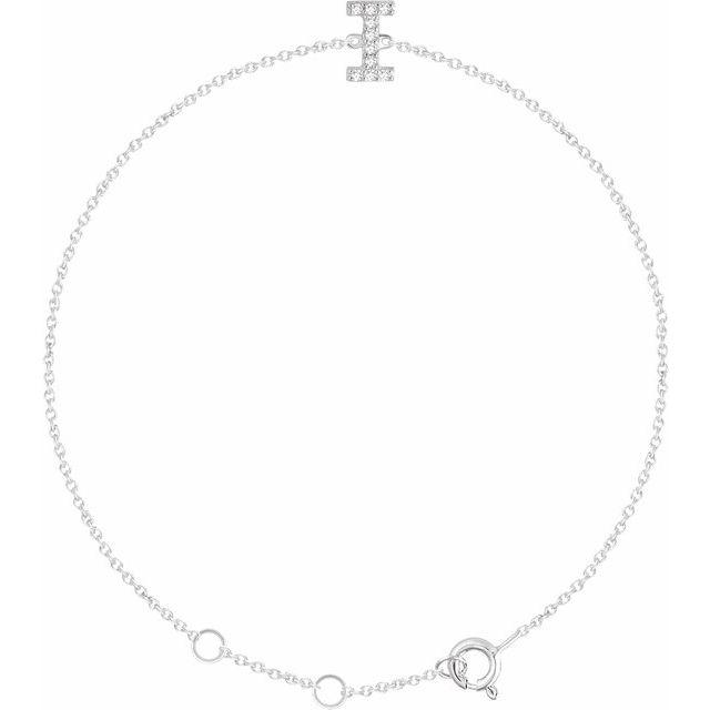 "14K White .05 CTW Diamond Initial I 6-7"" Bracelet"