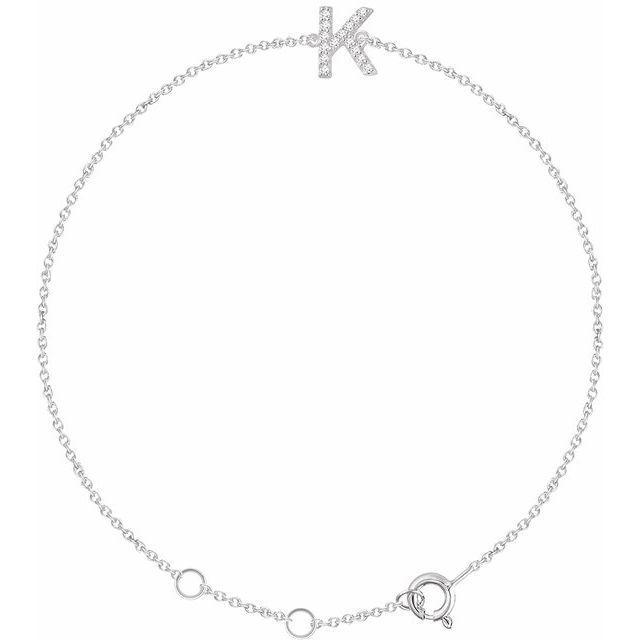 14K White .05 CTW Diamond Initial K 6-7