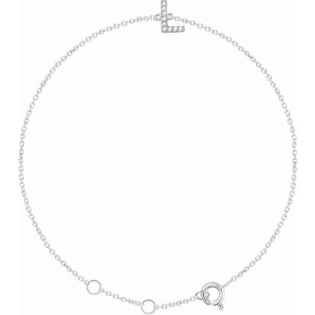 "14K White .04 CTW Diamond Initial L 6-7"" Bracelet"