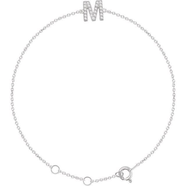 "14K White .07 CTW Diamond Initial M 6-7"" Bracelet"