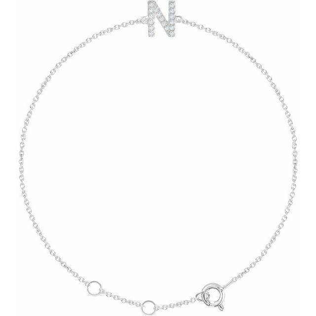 14K White .06 CTW Diamond Initial N 6-7