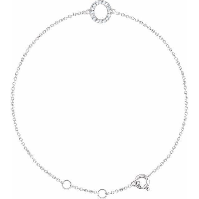 "14K White .06 CTW Diamond Initial O 6-7"" Bracelet"