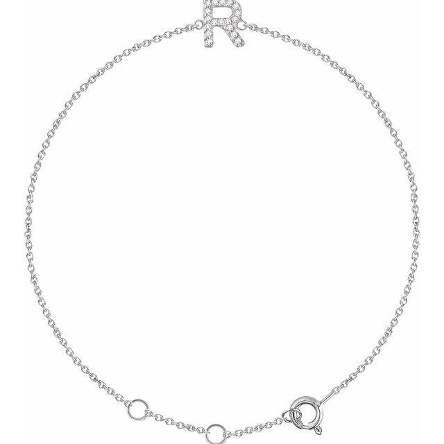 "14K White .06 CTW Diamond Initial R 6-7"" Bracelet"