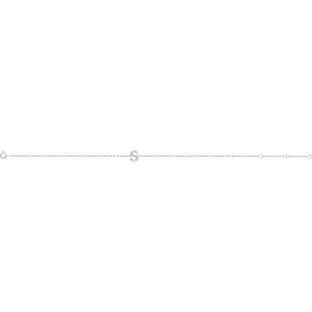 14K White .05 CTW Diamond Initial S 6-7