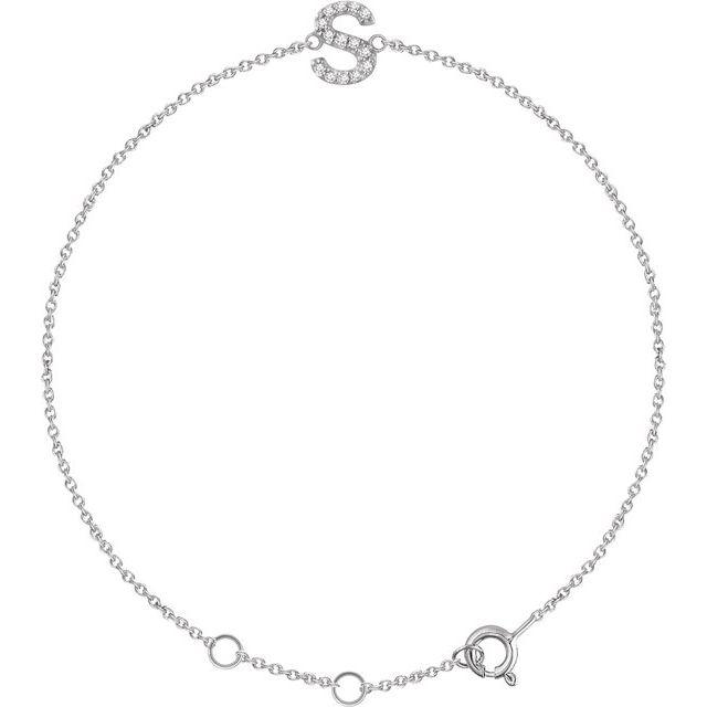 "14K White .05 CTW Diamond Initial S 6-7"" Bracelet"