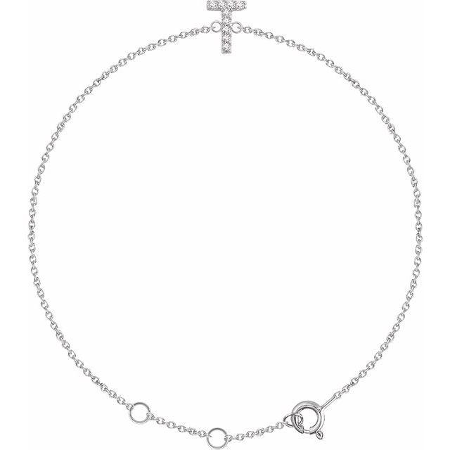 "14K White .05 CTW Diamond Initial T 6-7"" Bracelet"