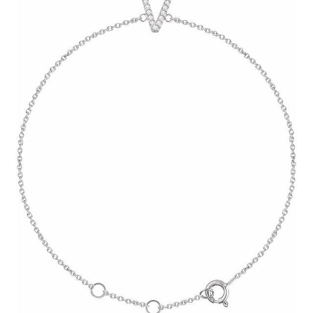 """14K White .05 CTW Diamond Initial V 6-7"""" Bracelet"""