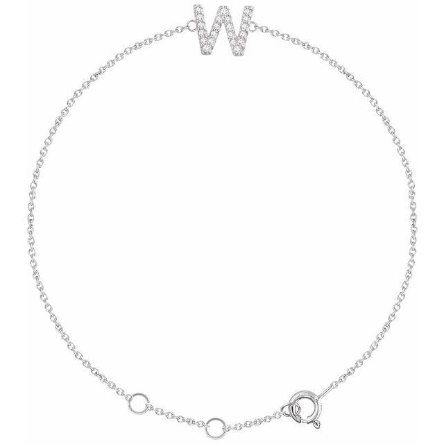 """14K White .07 CTW Diamond Initial W 6-7"""" Bracelet"""