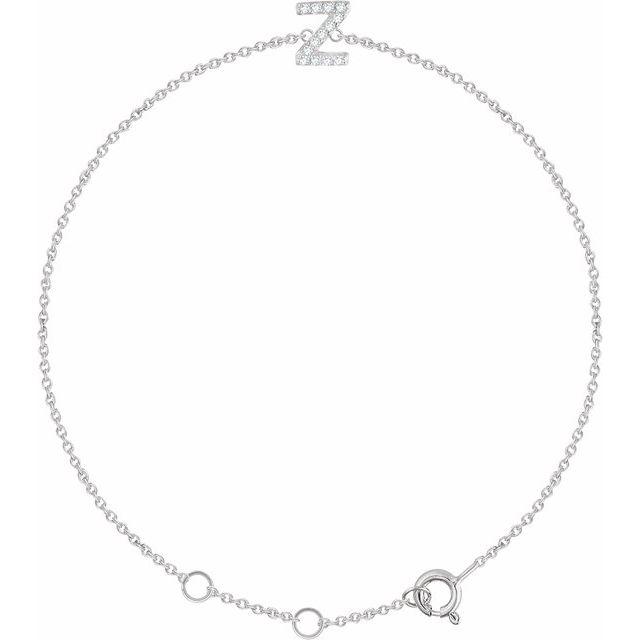 """14K White .06 CTW Diamond Initial Z 6-7"""" Bracelet"""