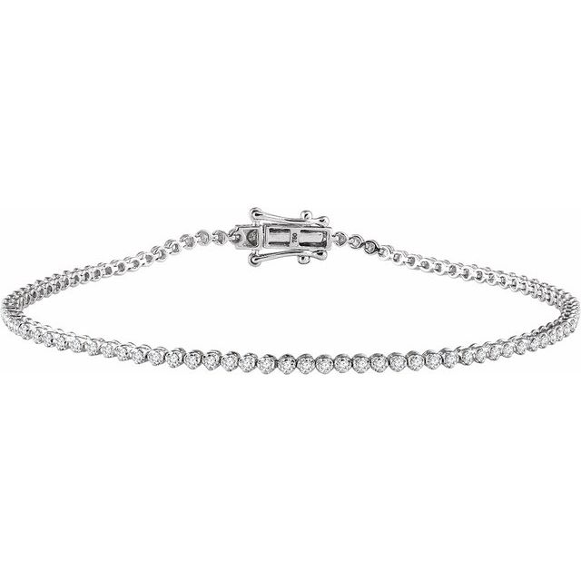 "14K White 9/10 CTW Diamond 7"" Line Bracelet"