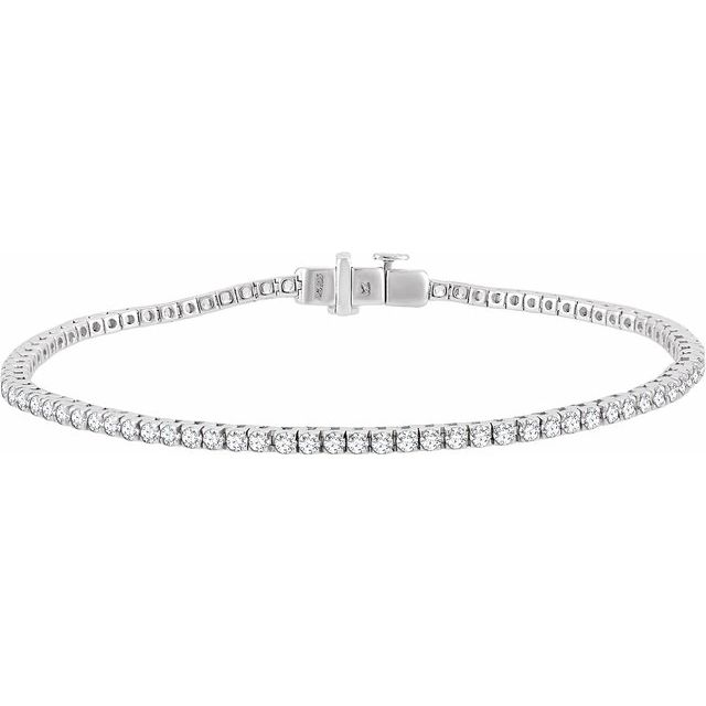 "14K White 1 3/4 CTW Diamond Line 7"" Bracelet"