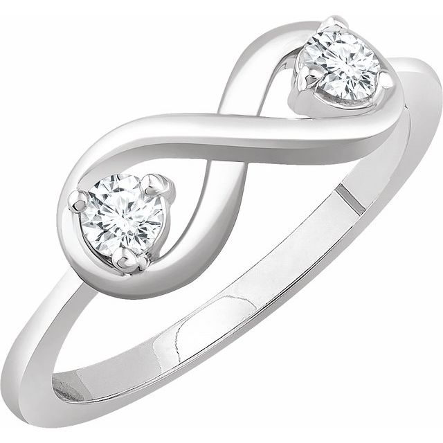 14K White 1/4 CTW Diamond Infinity-Inspired Ring